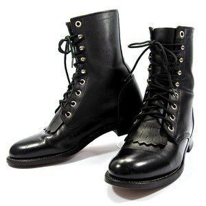 Justin Hiram  Leather Lace Up Western Roper Boots